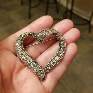 Vtg. Faux Marcasite Heart Brooch